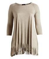 New Women's Plus Size Oatmeal Fringe-Trim Tunic (Top) Size 1X 3X  3/4Sleeve