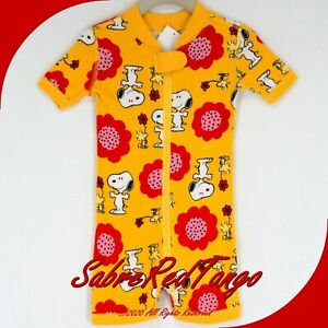 NWT HANNA ANDERSSON ORGANIC SHORTIE SLEEPER PEANUTS SNOOPY FLOWERS 75 12-18 M