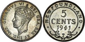 Canada - Newfoundland: 5 Cents silver 1941 C - aUNC