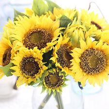 Artificial Fake Sunflower Silk Flower Bouquet Home Wedding Floral Decor