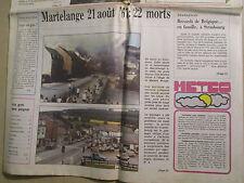 CATASTROPHE DE MARTELANGE DU 21/08/1967 - IL Y A 20 ANS - ADL 21/08/1987