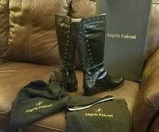 Women's luxury Angela Falconi Black Tall Leather Boots Size 8 (Made in Italy)