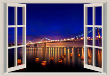 San Francisco Sunset Ocean Bridge Beach Window Color Wall Sticker Mural 36x25
