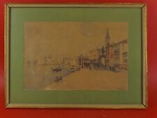 Belle Aquarelle, Venise Italie, Riva Schiavoni, datée 1925. Signée Pouzini