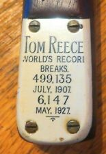 RARE TOM REECE 1927 SNOOKER CUE 499,135 & 6,147 RECORD BREAKS COLLECTOR'S ITEM