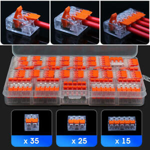 75x Reusable For Wago 221 Electrical Connectors Wire Block Clamp Terminal Cable