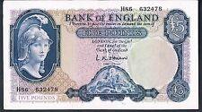 ENGLAND BANKNOTE 5 B280 P372 OBRIEN 1961 GEF-aAU FIRST SERIES H86