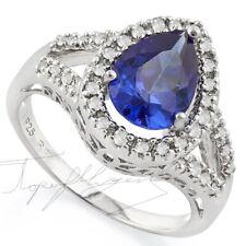 7.67 ct PREMIUM AAA TANZANITE & 36 DIAMONDS  GYPSY WEDDING  14K W GOLD FILL 7