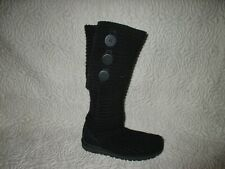UGG 5819 BLACK CARDY KNIT INSOLES 3 BUTTON KNEE HIGH FOLD OVER BOOTS  SIZE 5