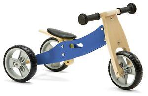 Nicko NIC805 Blue Mini Convertible Wooden Balance Bike Toddler Trike 18 months+