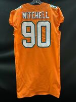 #90 EARL MITCHELL MIAMI DOLPHINS GAME USED TEAM ISSUED ORANGE COLOR RUSH JERSEY