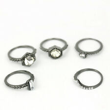 5pcs/set 18K Black gold plated Crystal white Zircon Finger Rings Band Jewelry