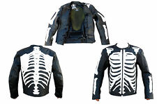 THE SKELETON MOTORBIKE LEATHER JACKET - CE APPROVED FULL PROTECTION