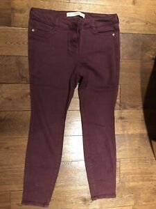 Next Ladies Skinny Trousers Size 14 Petite Cotton Canvas Burgundy