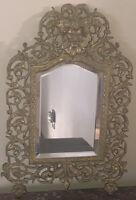 Art Nouveau Carved & Guilded Bronze / Brass+Beveled Atrium Mirror Bacchus Head