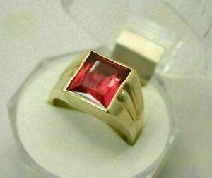 2.56 Ct Garnet Men's Engagement & Wedding Expensive Ring 14K Yellow Gold Plated