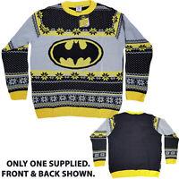 Official Batman Logo Bat Signal Knitted Xmas Jumper Ugly Sweater Novelty XL NEW