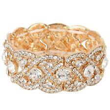 CLEARANCE Vintage Inspired Crystal Gold Bracelet Cuff  (Sparkle-1480-U)