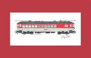 "Chicago North Shore & Milwaukee Silverliner 11""x17"" Matted Print Fletcher signed"