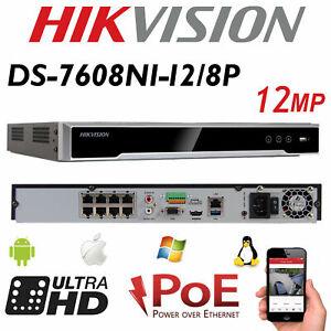 HIKVISION 4K 8CH NVR DS-7608NI-I2/8P Up To 12MP POE CCTV Network Video Recorder