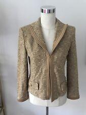 NWT St. John Gold Jacket Blazer Size 2 NEW $1440 (Small Defect On Trim In Photo)