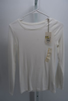 WOMEN'S REGULAR FIT LONG SLEEVE CREWNECK T-SHIRT-A NEW DAY WHITE S- NEW W/TAGS