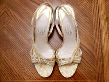 New TALBOTS Beige/Gold Fabric Med Heel Slingback Sandals Size 6 1/2B