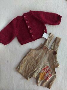 Essemble: Strickjacke & Bollerhose, für ca. 36-38 cm Bären, Unikate- Handarbeit