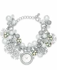 Charter Club Christmas Stainless Timepiece & Charms 8.5'' Women's Bracelet New!