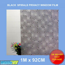 BLACK SPIRALS FROSTED PRIVACY WINDOW FILM - 92cm x 1m Roll M110