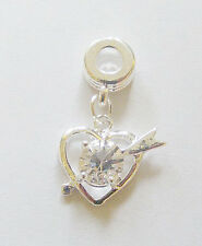 1 Silver Plated Heart Dangle  Charm - For Charm Bracelet - Clear Rhinestone