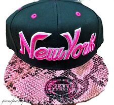 New York snakeskin Snapback, Boys, Girls flat peak fitted hats bling/baseball
