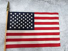 New listing United States of America Us 8x12 Fabric Flag on Wood Stick Free S/H