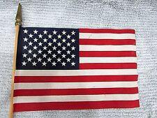 United States of America Us 8x12 Fabric Flag on Wood Stick Free S/H