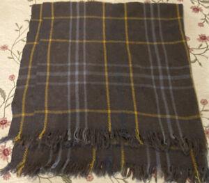"Vtg Wool Lap Blanket Shawl Gray Yellow Blue 50 x 50"" Fringed Throw Cabin Decor"