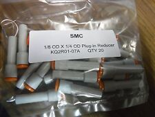 """QTY 20 SMC KQ2R01-07A one touch Plug In Reducer 1/8""""OD X 1/4"""" OD push to connect"""
