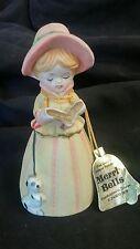 Jasco Merri Bells Girl Caroler Puppy Bell Bisque Porcelain Taiwan 1978 with Tag