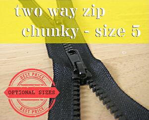 Black Chunky Zip Two Way Zip No5 Plastic Zipper Double Zip lengths 55 - 100 cm