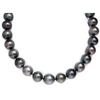 """Tahitian South Sea Pearl Necklace 17 - 15 mm black 18"""" 14kt gold clasp"""