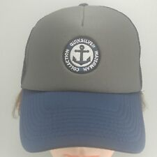 Quicksilver Anchor Patch Snapback Mesh Hat Cap Waterman Collection Gray Blue