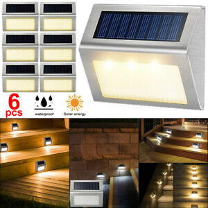 6 PCS LED Solar Powered Fence Wall Lights Garden Lamp Step Path Decking Outdoor