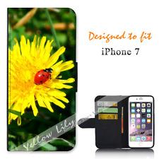 Apple iPhone 7 Wallet Flip Phone Case Cover Lady Bug Flower Y00872
