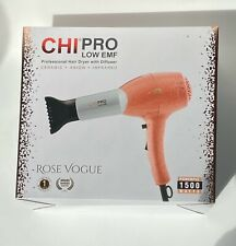 CHI PRO Low EMF Rose Vogue Professional Hair Dryer with Diffuser (1500 Watts)
