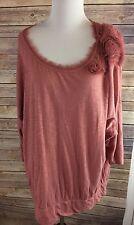 Lauren Conrad Blush Pink 3/4 Sleeve Lightweight Knit Shirt Blouse Top Sz XL
