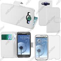 Housse Etui Coque Portefeuille PU Cuir Blanc Samsung Galaxy S3 i9300 + Verre