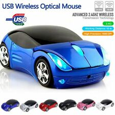 Blue 2.4GHz Wireless Car Optical Mouse + USB receiver for Laptop Computer PC