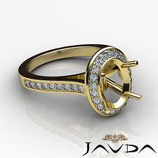 Diamond Engagement Ring 0.70ct 18k Yellow Gold Oval Shape Semi Mount Halo Pave
