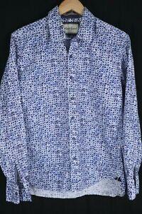 Robert Graham Mens Sz Large Blue Geometric Btn Up Long Sleeve Shirt