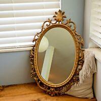 "Vintage Syroco Mirror Hollywood Regency Gold Flower Filigree Frame 29""x19"" MCM"