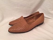 Ipanema Woven Leather Flats 8 M Shoes Beige Loafers Slip On Made in Brazil